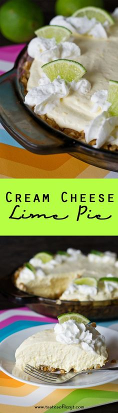 Cream Cheese Lime Pie is a cool, creamy dessert with sweet cream, tangy lime and a salty crushed pretzel crust. Make it no-bake with a store bought crust!