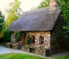 Stone House Revival can find Stone cottages and more on our website. Stone Exterior Houses, Old Stone Houses, Old Houses, Vintage Houses, Stone Cottage Homes, Stone Homes, Stone House Revival, Stone Cabin, Style Cottage