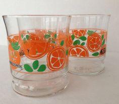 3 Orange Juice Slice Glasses From Mr Fables Restaurant Grand Rapids Michigan