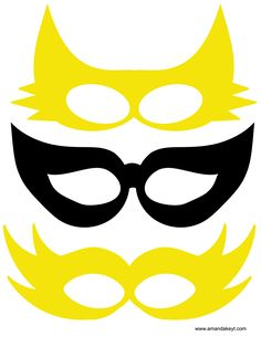 Masks from Yellow Marvel Girl Hero Inspired Printable Photo Booth Prop Set