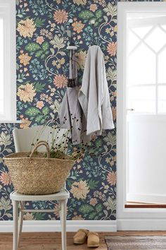The home of bold & beautiful wallpaper in Australia. Blue Wallpaper Bedroom, Dark Blue Wallpaper, Blue Wallpapers, Blue Bedroom, Wall Wallpaper, Farmhouse Wallpaper, Cottage Wallpaper, Chocolate Bedroom, Shed Homes
