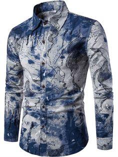 Lapel Ethnic Linen Ethnic Printed Slim Men's Long Sleeve Shirt - m.tbdress.com