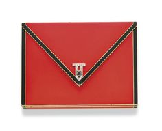 AN ART DECO ENAMEL AND DIAMOND VANITY CASE, BY JANESICH  Of rectangular outline, designed as a red enamel envelope with black enamel trim, the black cabochon onyx clasp enhanced by a rose-cut diamond geometric motif, opening to reveal a fitted mirror, a powder silk pouch, a gold lipstick holder and fitted silk case, mounted in 18k gold, circa 1925