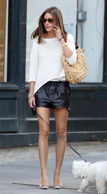 Olivia Palermo leather skirt
