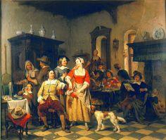 Jan Willem Verhoeven, Jan Steen en Frans van Mieris in een herberg