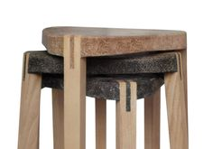 The Swiss based initiative has developed a biobased composite material that can be used for various applications. Examples shown are a bar stool and some kitchenware bowls, but other possibilities include wall covering, larger furniture and paneling.
