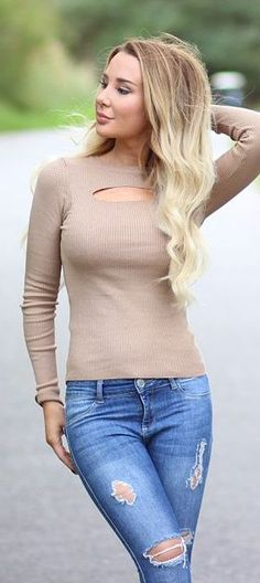 Kissie Beige Sweater fall autumn women fashion outfit clothing style apparel @roressclothes closet ideas
