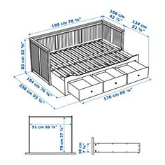 HEMNES Day-bed frame with 3 drawers, grey. A sofa, a single bed, a double bed and storage in one piece of furniture! If you like the style, you can combine it with other furniture in the HEMNES series. Ikea Hemnes Daybed, Hemnes Day Bed, Sofa Bed Frame, Day Bed Frame, Murphy Bed Ikea, Murphy Bed Plans, Sofa Bed Design, Pull Out Bed, Camper Van Conversion Diy