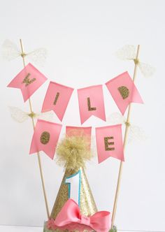Wild One First Birthday Flag Cake Topper Banner Bunting & MINI Birthday Party Cake Smash Hat with Bow Gold Coral and Turquoise
