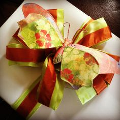 White paper, lime and rust ribbons, and sweet, summery paper butterfly...all from Hobby Lobby