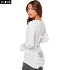 Aliexpress.com : Buy ZAFUL Plus Size Promotion Top T Shirts Fashion Regular Summer Autumn Style Woman Stylish V neck Long Sleeve Spliced T Shirt from Reliable T-Shirts suppliers on ZAFUL | Alibaba Group