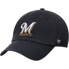 a38b97ee5c2 MLB  47 Milwaukee Brewers Clean Up Adjustable Hat. Detroit GameUp GameClean  UpTeam LogoNavy BlueBaseball HatsMilwaukee ...