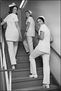 Nurses, - when nursing pantsuit uniforms first were acceptable as workwear by hospitals – clusterpile Images Of Nurses, Nursing Pictures, Funny Pictures, Nurse Aesthetic, Nurse Photos, Nurse Art, Vintage Nurse, Nurses Day, Oldschool