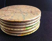 Texas vintage map coasters - Amarillo, Austin, Wichita Falls, Longview and more - Texas, United States (Set of 6). $21.10, via Etsy.