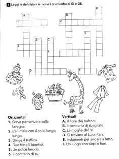 Italian Grammar, Italian Language, School Template, Word Search Puzzles, Learning Italian, Home Schooling, Primary School, Pixel Art, Worksheets