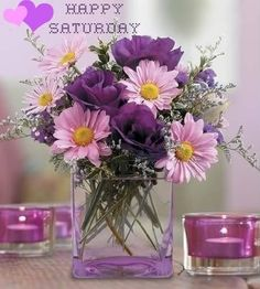 purple centerpiece wedding - love the flowers but i would change out the vase for something more rustic
