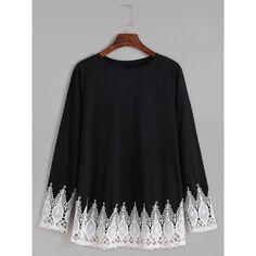 Black Contrast Crochet Trim T-shirt (205 MXN) ❤ liked on Polyvore featuring tops, t-shirts, shirts, sweaters, black, polyester shirt, sleeve shirt, long sleeve shirts, longsleeve t shirts and long sleeve t shirts