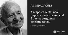 AS INDAGAÇÕES A resposta certa, não importa nada: o essencial é que as perguntas estejam certas. — Mario Quintana