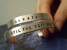 Always & Until The Very End Silver Aluminum Cuff Bracelet Set - Harry Potter And The Deathly Hallows Inspired Geekery Best Friend Jewelry      A perfect set for friends. Or, you could be greedy and keep both. It is Potter, after all, and you can never have enough HP jewelry. by SHOWPONYSTORE, $20 for both