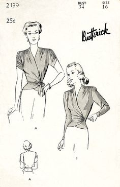 1940s 40s wrap blouse sewing pattern soft gathers draped sleeves bust 34 reproduction