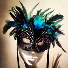 Custom Design 'The Peacock' Masquerade mask, turquoise feathers & Swarovski crystals