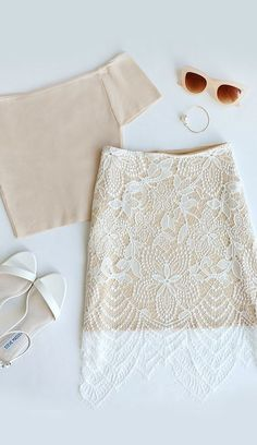 Fashionably Late Beige and Ivory Lace Skirt