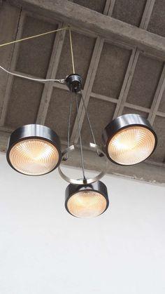 Bruno Gatta; Nickeled Brass, Enameled Metal and Molded Glass, Adjustable Ceiling Light for Stilnovo,c1965.