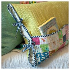 "Once Upon A Time pocket reading pillow | it's body pillow sized | from new book ""For Keeps: Meaningful Patchwork for Everyday Living"""