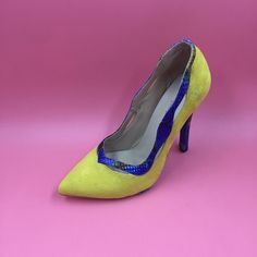 76.00$  Watch here - http://ali3ku.worldwells.pw/go.php?t=32755942104 - Concise Yellow Women Pumps With Blue Snakeskin Print High Heels Pionted Toe Ladies Shoes Women Pump Stilettos Sapato Salto Baixo