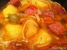Sopa de Salchichon y Fideos - soup http://miesquinaboricuaymas.blogspot.com/2011/12/sopa-de-salchichon-y-fideos.html