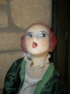 Antique Early Composition Head Art Deco Smoker Bed Boudior Doll 29 034 Pink Hair   eBay