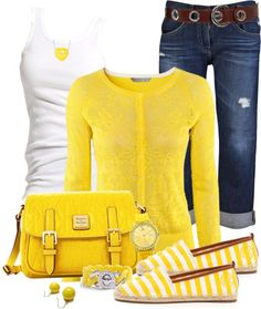 Spring/summer fashion love this yellow outfit Mode Outfits, Jean Outfits, Casual Outfits, Fashion Outfits, Fashion Trends, Tween Fashion, Look Fashion, Womens Fashion, Fashion Beauty