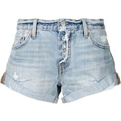 Levi's rolled hem distressed shorts ($100) ❤ liked on Polyvore featuring shorts, blue, ripped shorts, roll up shorts, levi shorts, distressed shorts and blue shorts