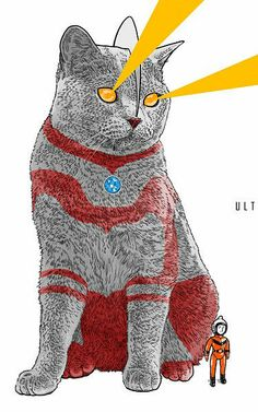 Beijing Illustrator A Ke Draws Cats Inspired By Elvis Presley, Ultraman, Bruce Lee, And More.