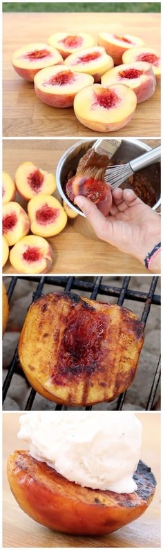 Grilled Cinnamon Peaches With Pecans & Ice Cream