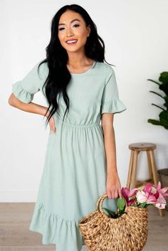 A Line Polka Dot Dress - Modest Women's Clothing Modest Skirts, Modest Outfits, Modest Clothing, Women's Clothing, Senior Prom Dresses, Winter Formal Dresses, Short Sleeve Dresses, Dresses With Sleeves, Church Dresses