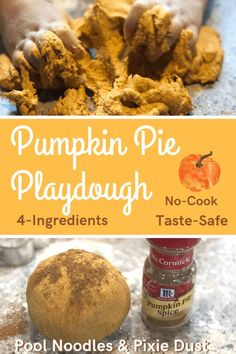 DIY taste-safe, no-cook, pumpkin pie play dough recipe for fun fall sensory play. Autumn Activities For Kids, Thanksgiving Activities, Christmas Activities, Thanksgiving Crafts, Kid Activities, Educational Activities, Crafts For 3 Year Olds, Crafts For Kids, Pumpkin Playdough Recipe No Cook
