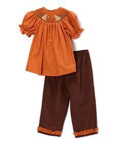 Orange Squirrel Smocked Top & Pants - Infant & Toddler #zulily #zulilyfinds