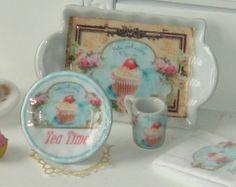 Dollhouse ceramic tea time mug . 1:12 dishes for dollhouses miniature. Tea time collection.
