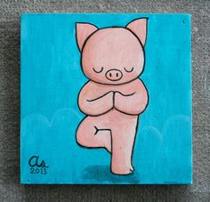 Yoga Pig  Original Painting by MiniBodhi on Etsy