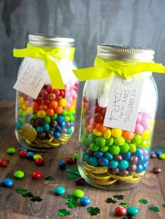 Gold coins at the bottom, Skittles and marshmallows on top. St. Patrick's Day in a jar. So, SO cute!