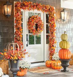 I love this fall front porch! I want every piece so I can copy this look! Home decor, fall decor, fall outdoor decor, front porch, Christmas Greenery, Woodland Christmas, Fall Christmas Tree, Harvest Moon, Fall Harvest, Fall Garland, Fall Wreaths, Autumn Decorating, Porch Decorating