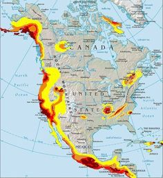 North American Earthquake Fault Lines Map Located In North America - Map of fault lines in the us