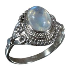 925 Solid Sterling Silver Ring Natural Rainbow Moonstone US Size 6.75 JSR-1341 #Handmade #Ring