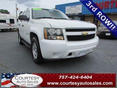 2007 CHEVROLET TAHOE -- VERY Well MAINTAINED! -- 3rd ROW! -- Clean CAR-FAX! -- Price INCLUDES A 3 MONTH/3,000 Mile WARRANTY! -- CALL TODAY! * 757-424-6404 * FINANCING AVAILABLE! -- Courtesy Auto Sales SPECIALIZES In Providing You With The BEST PRICE On A USED CAR, TRUCK or SUV! -- Get APPROVED TODAY @ courtesyautosales.com * Proudly Serving Your USED CAR NEEDS In Chesapeake, Virginia Beach, Norfolk, Portsmouth, Suffolk, Hampton Roads, Richmond, And ALL Of Virginia SINCE 1976!