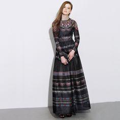 Vestido longo moda outono /inverno
