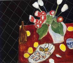 Tulips and oysters on a black background     Henri Matisse · 1943