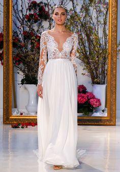 Long sleeve beaded lace wedding dress   Anne Barge Leyland   http://trib.al/LEugC0i