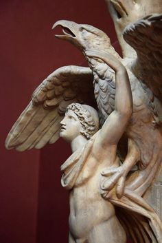 Ganymede and the eagle. Plaster cast of Vatican statue of the 2nd century. Moscow, the Pushkin Museum of Fine Arts.