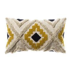 The Mexica Cushion features a beautifully crafted, hand-woven tufted design. Made in India, the navy and mustard Aztec inspired print can be seen on one side of the cushion, and makes the perfect statement cushion for your bedroom or your loungeroom.